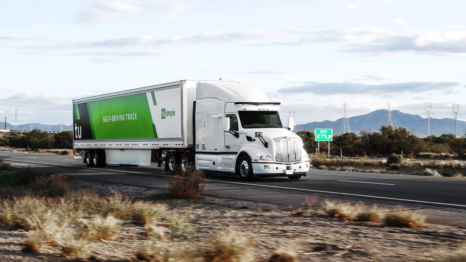 A TuSimple autonomous truck.