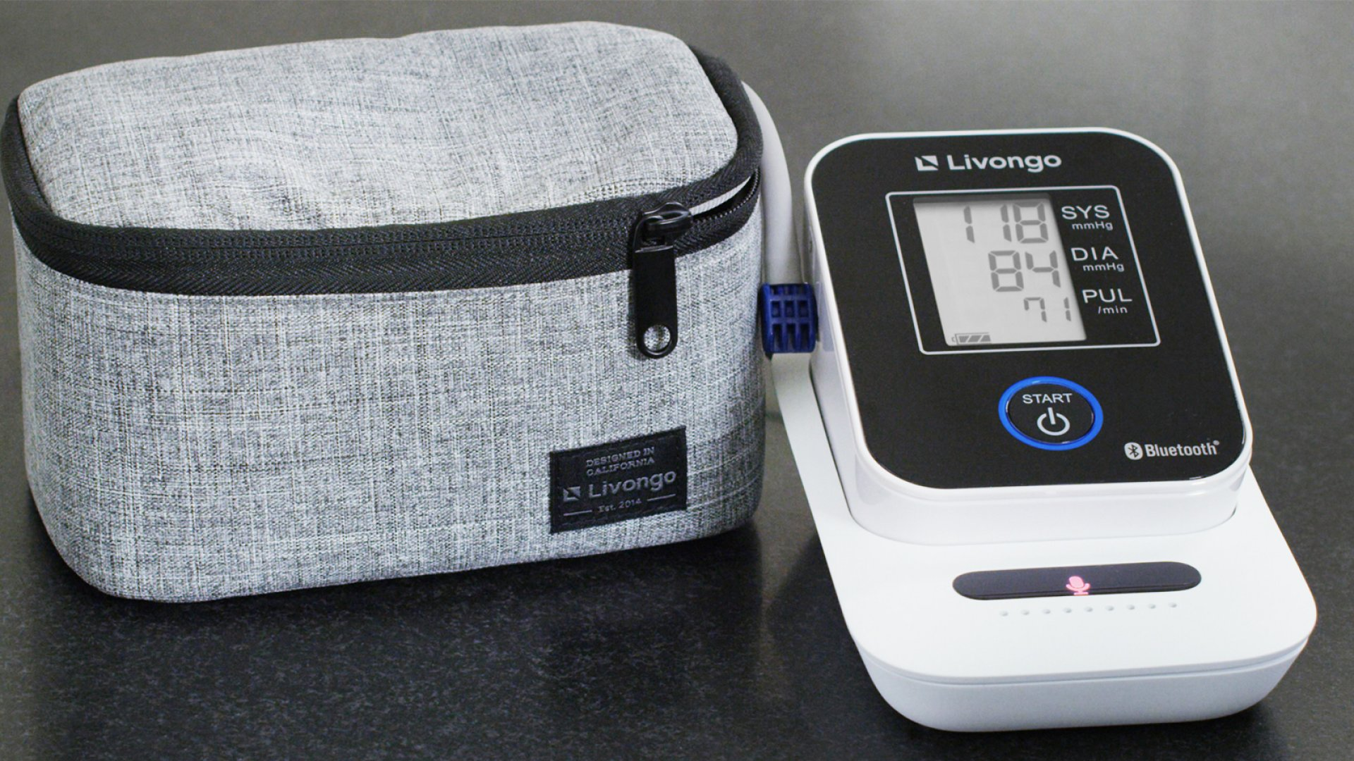 Livongo's voice-enabled, cellular blood-pressure monitoring system.