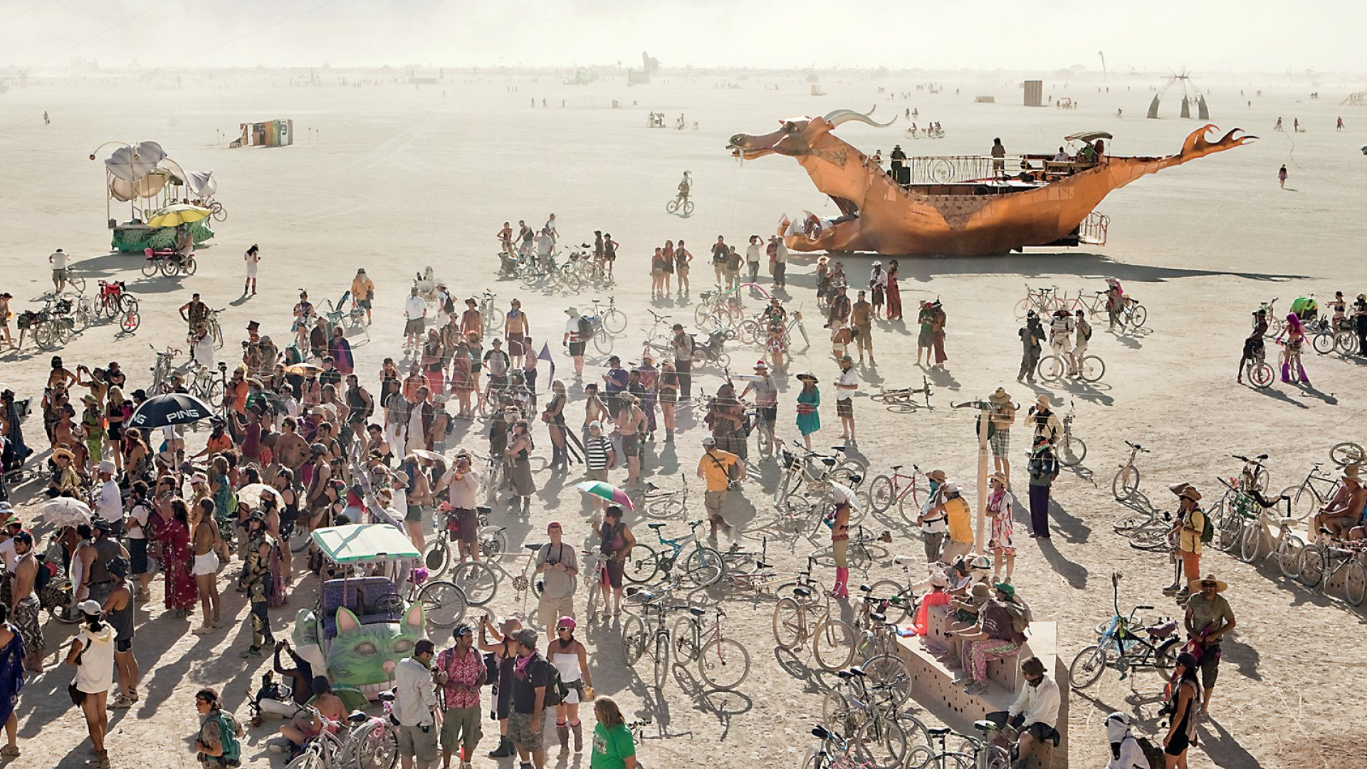 Burning Man takes its name from the immolation of a large wooden effigy on Saturday evening.