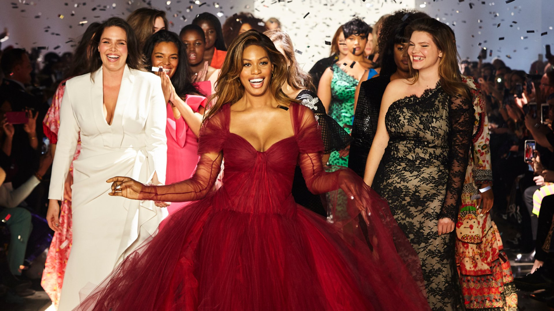Laverne Cox walks the runway with other models during the 11 Honoré fashion show at New York Fashion Week.