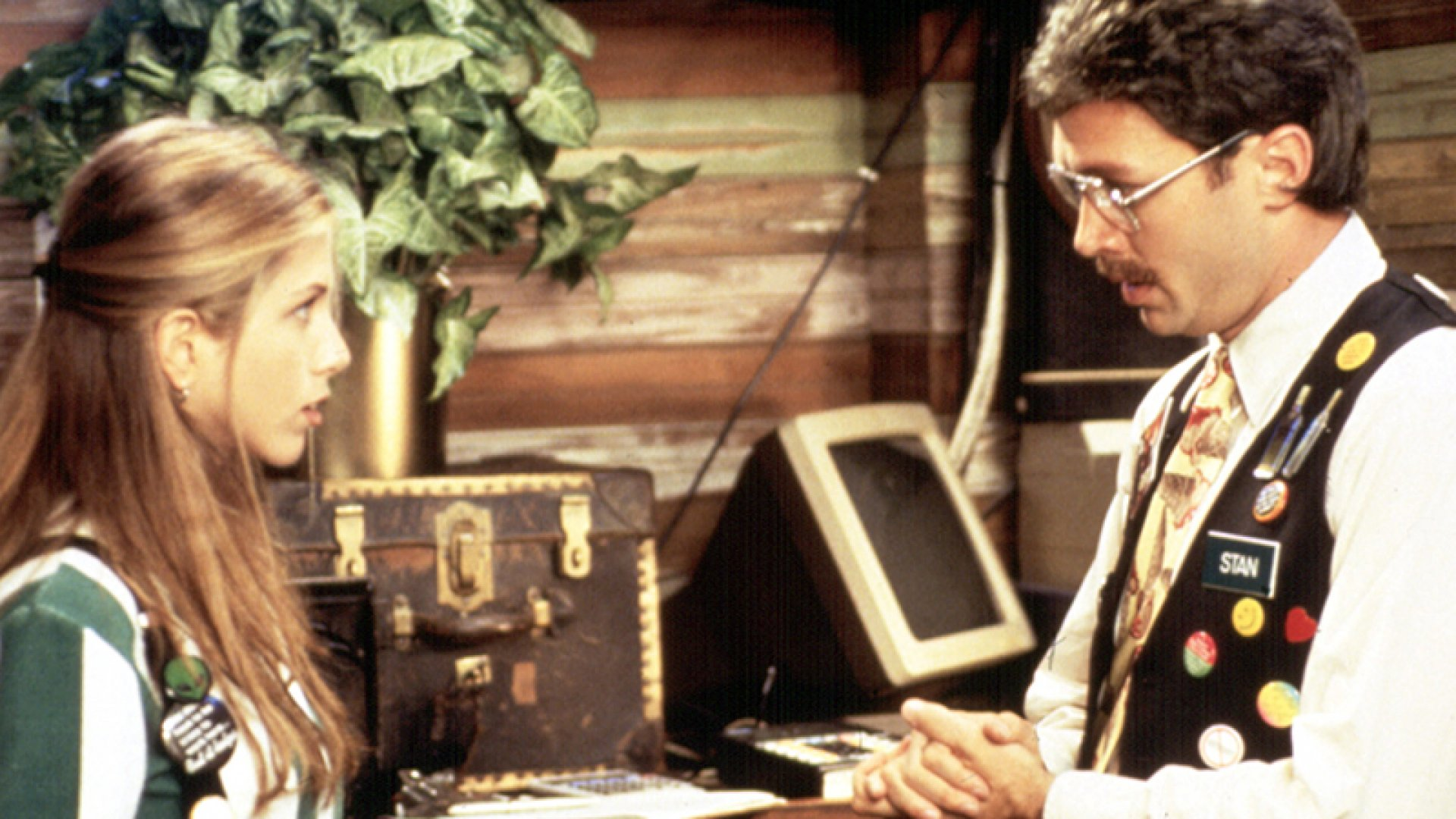 Jennifer Aniston (left) and Mike Judge in 1999 film <i>Office Space</i>.