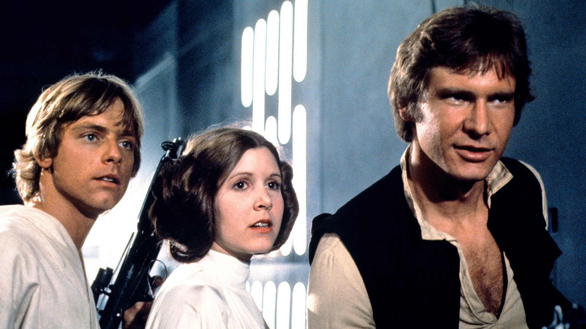 STAR WARS: EPISODE IV - A NEW HOPE; Mark Hamill, Carrie Fisher, Harrison Ford, 1977.