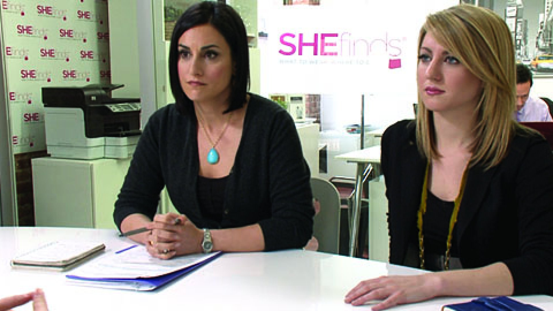 "Michelle Madhok (left), founder of SheFinds.com, and Eileen Conlan, editor of SheFinds.com interviewing a potential candidate on ""MTV Hired."""