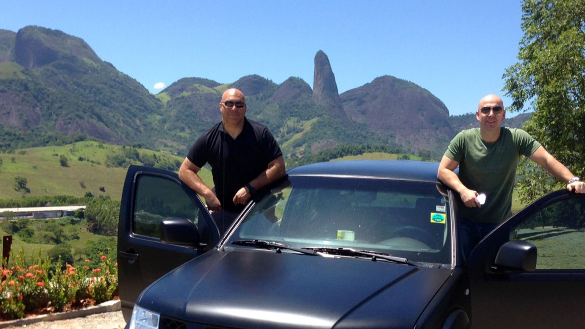 Business partners Marco Pereira (left) and Vinny Tavares (right) visit Brazil several times a year to buy blocks of granite directly from rural quarries.