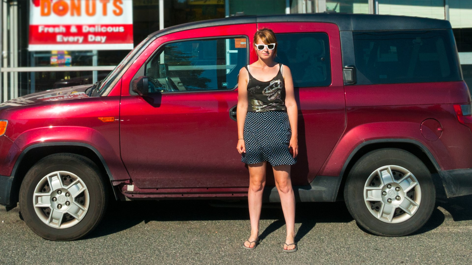 Femtrepreneur founder Mariah Coz in front of her 35-square-foot home.