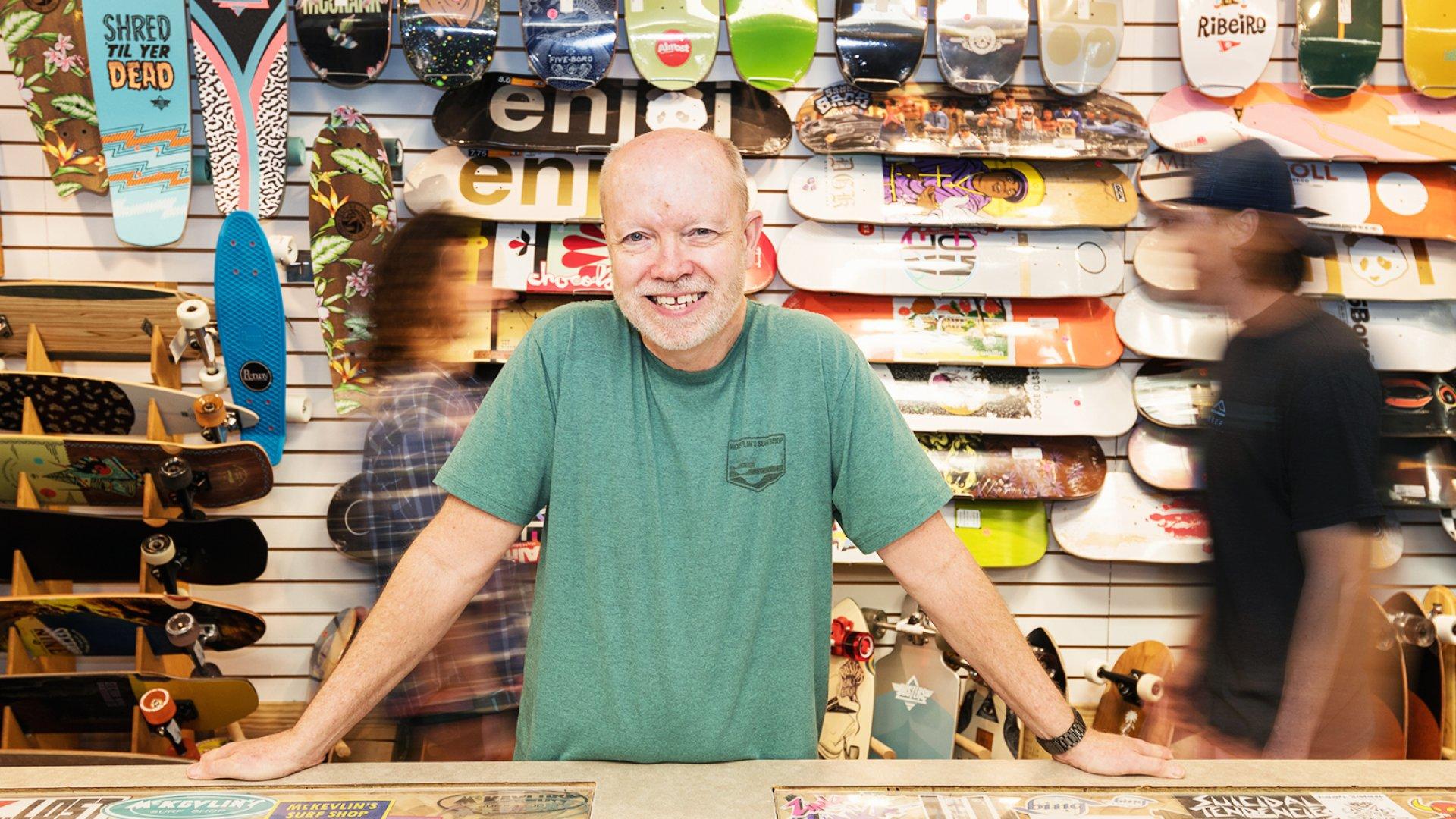 Second-generation McKevlin's Surf Shop owner Tim McKevlin.