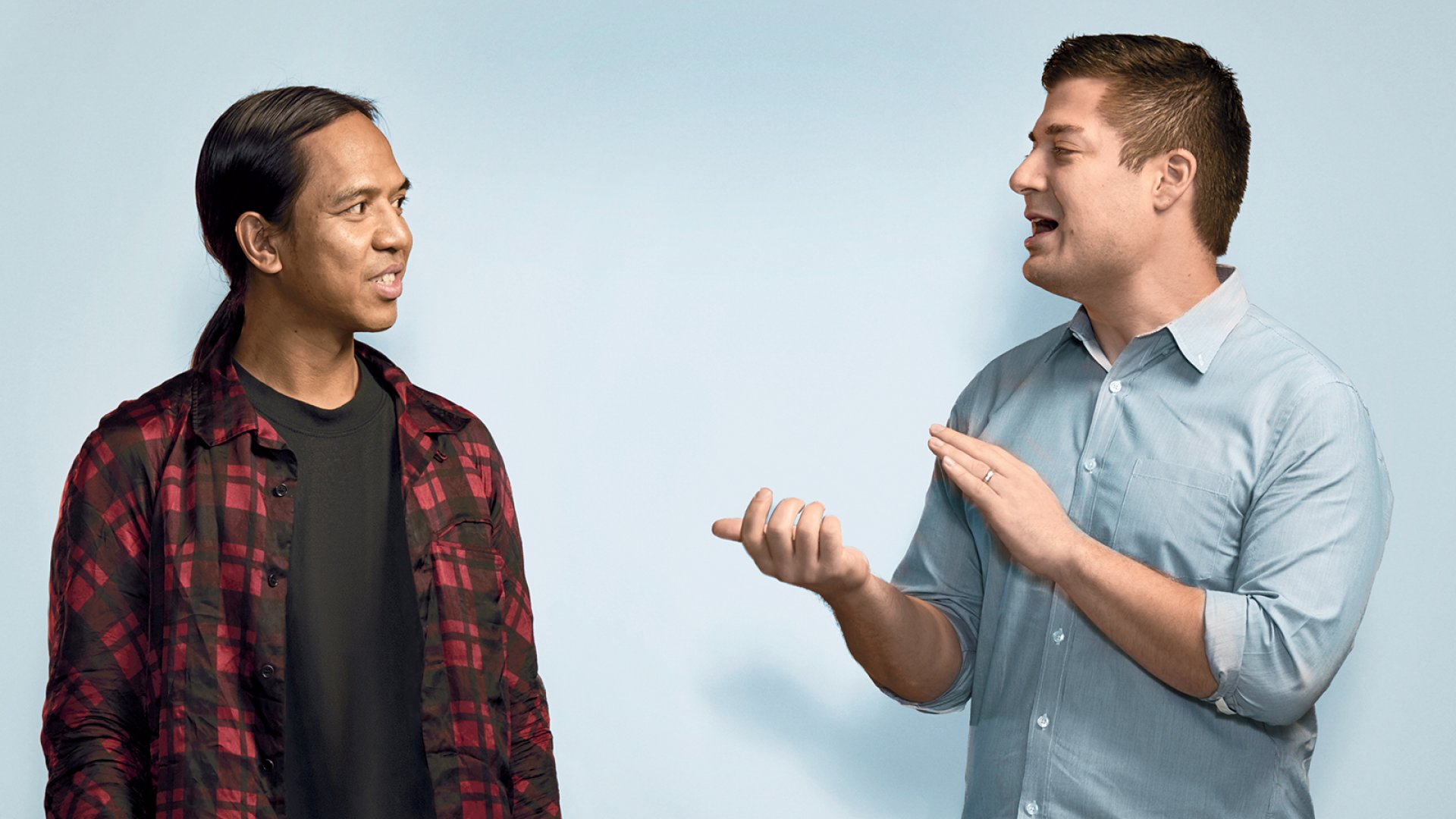 Revolve co-CEOs Michael Mente (left) and Mike Karanikolas. Mente majored in finance in college, but focuses on Revolve's creative side. Karanikolas is Revolve's analytical brain—and its three-time fantasy football champ.