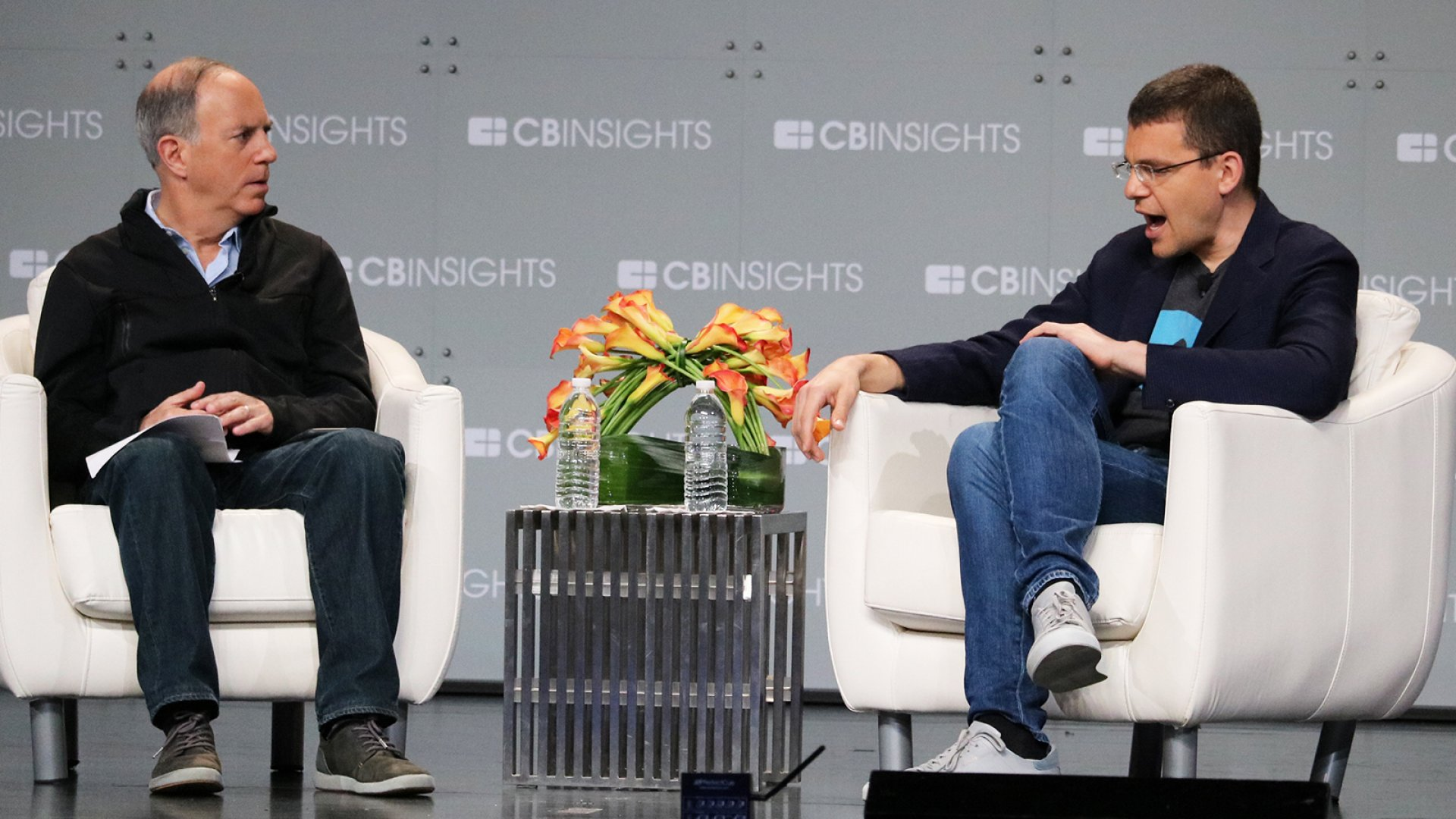 Max Levchin (right) on stage on June 20, 2018 at the Future of Fintech conference with Andy Serwer (left) the editor-in-chief of Yahoo Finance