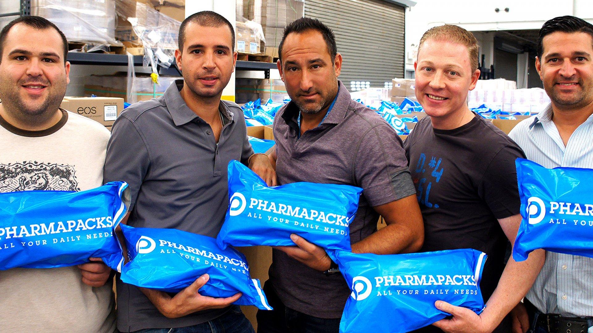 From left to right, Pharmapacks CMO Bradley Tramunti, CEO Andrew Vagenas, president Jonathan Webb, CFO James Mastronardi, and COO Adam Berkowitz.