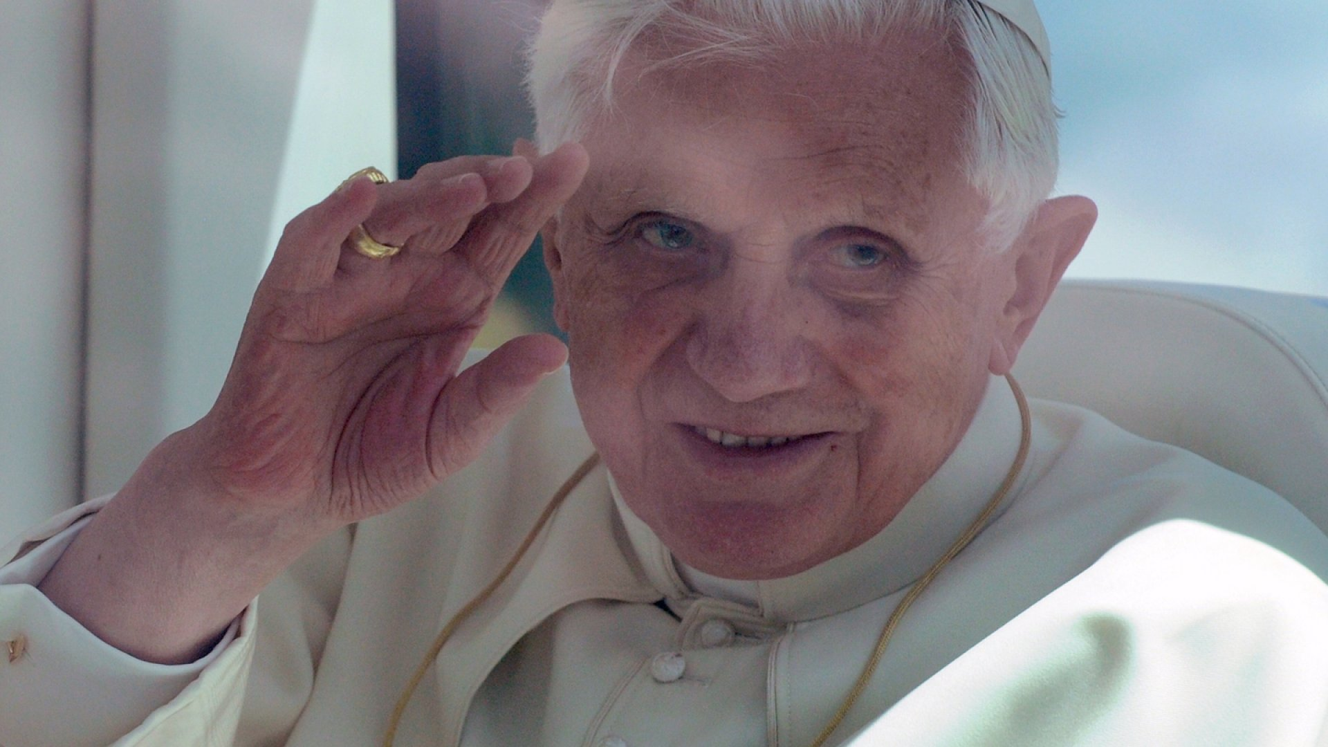 Pope Benedict XVI during his arrival in the Lisbon airport in 2010.