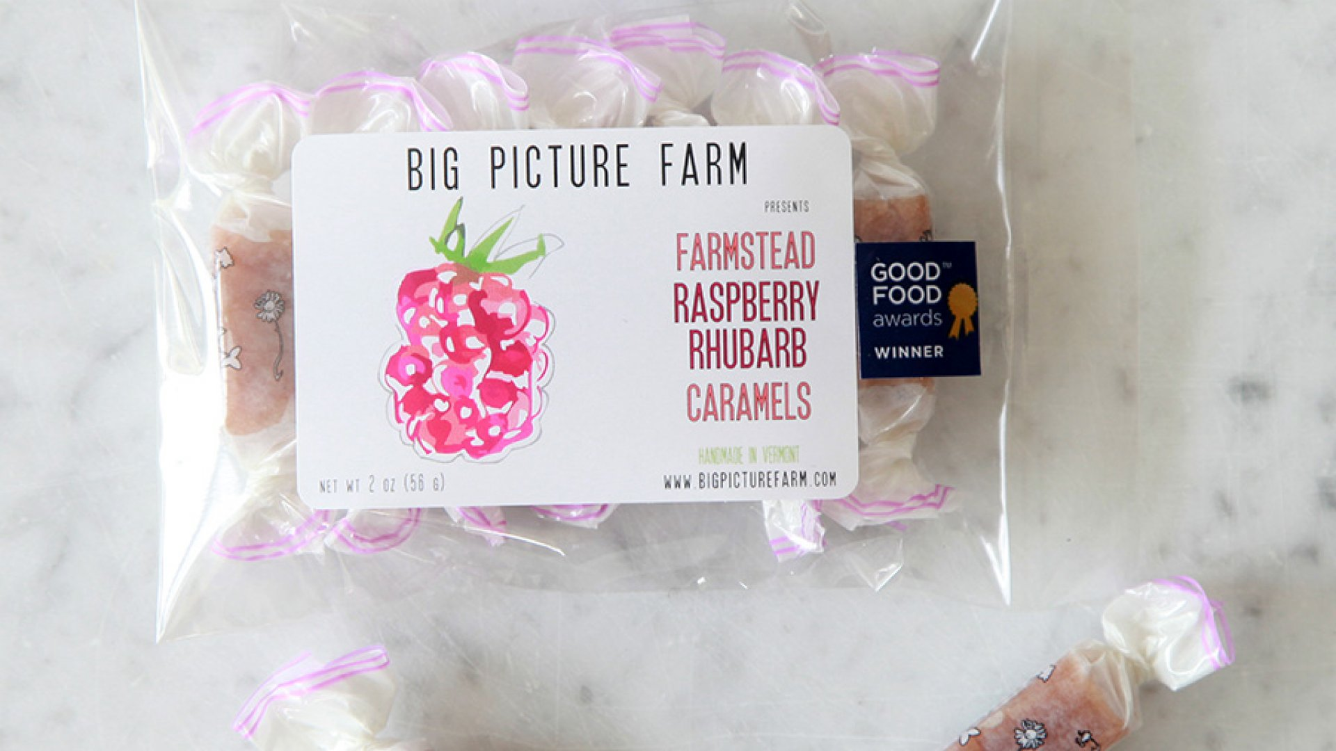 Raspberry Rhubarb Goat Milk Caramels from Big Picture Farm, the winner of the sofi™ Award for outstanding new product of 2015 at this summer's Fancy Food Show