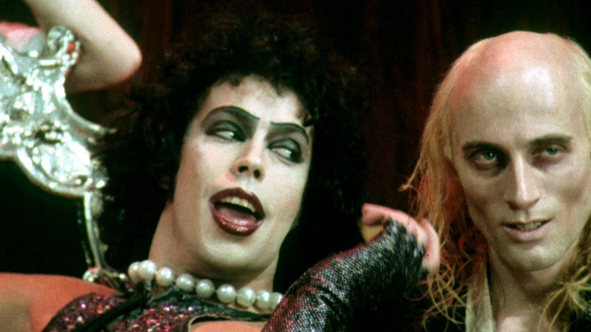 Fans celebrate the 40th anniversary of <em>The Rocky Horror Picture Show</em> outside London's Royal Albert Hall.