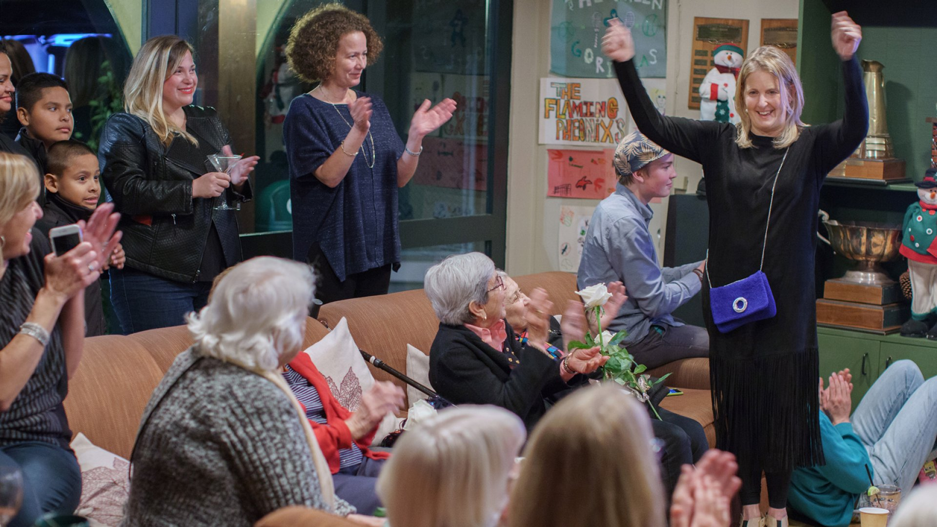 """Sarah Oliver and the """"purlettes"""" celebrate a $250,000 investment in Sarah Oliver Handbags from Shark Tank, during a Dec. 4, 2015 party at the Mill Valley Tennis Club in Mill Valley, Cali."""