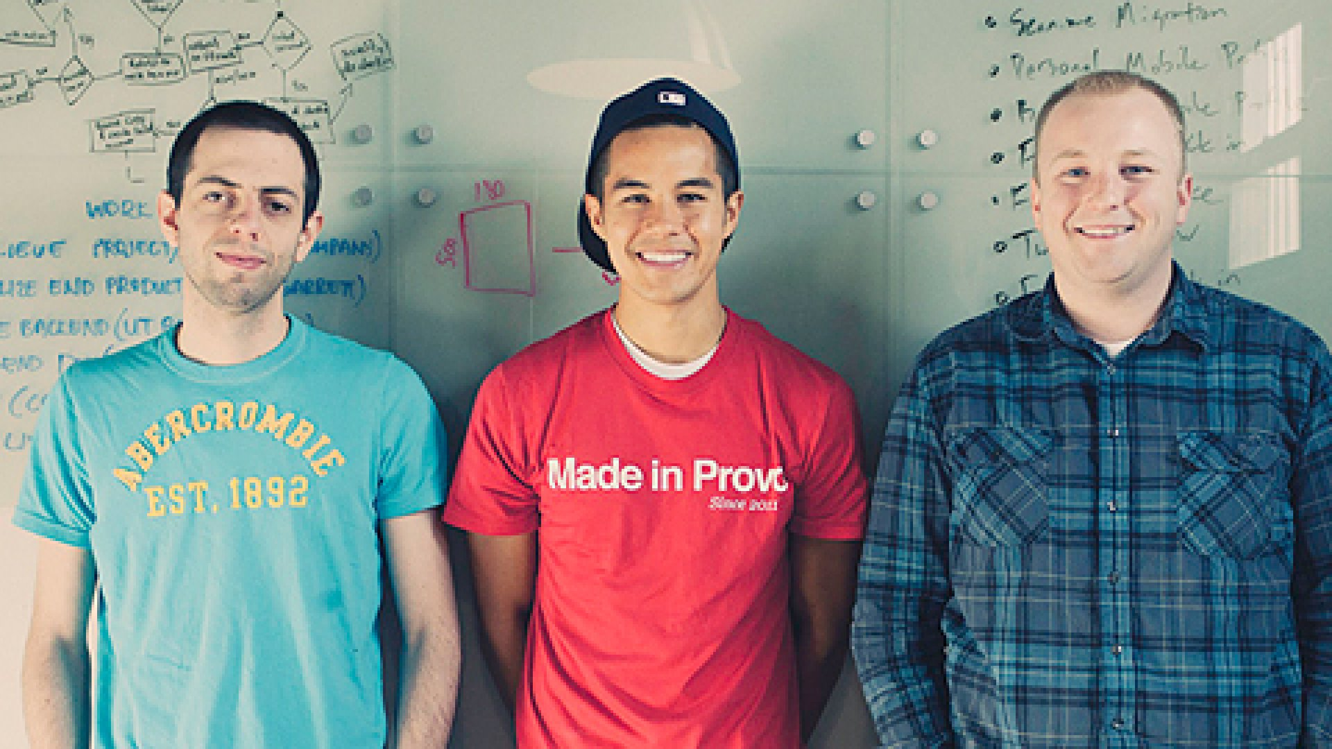 """Scan team Ben Turley (left), Garrett Gee, Kirk Ouimet. """"When I came across smart codes for the first time, I thought, 'Wow, this is really cool technology in a really ugly, crowded space. Someone should make a pretty product for this.'"""" says Gee (center)."""