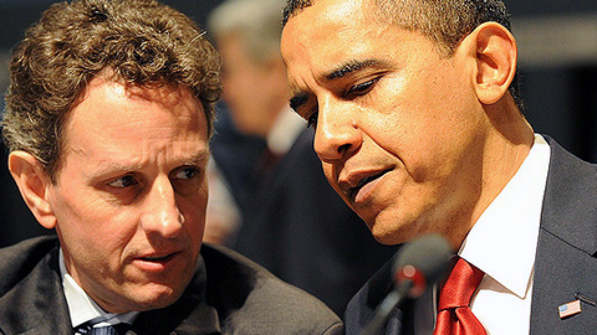 Treasury Secretary Timothy Geithner and President Barack Obama.
