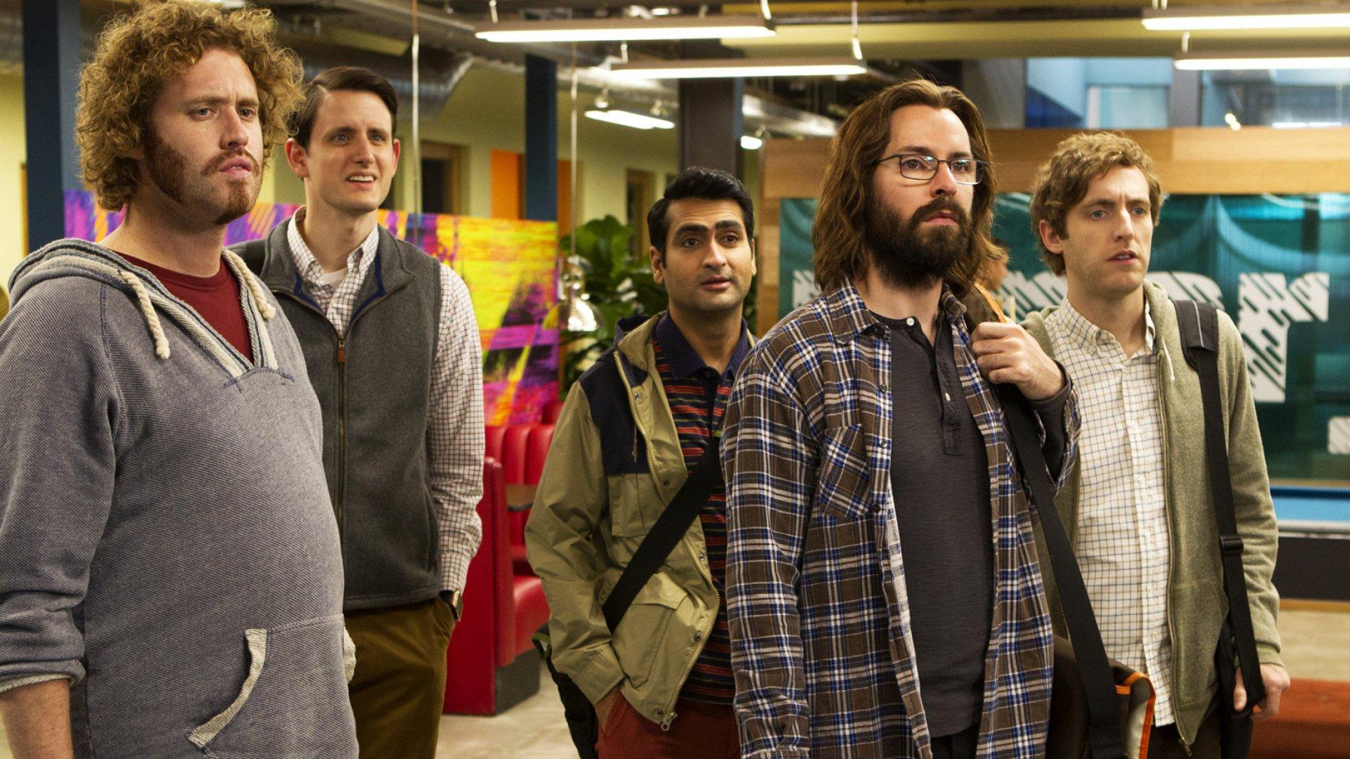 <i>Silicon Valley</i>'s T.J. Miller, Zach Woods, Kumail Nanjiani, Martin Starr, Thomas Middleditch.