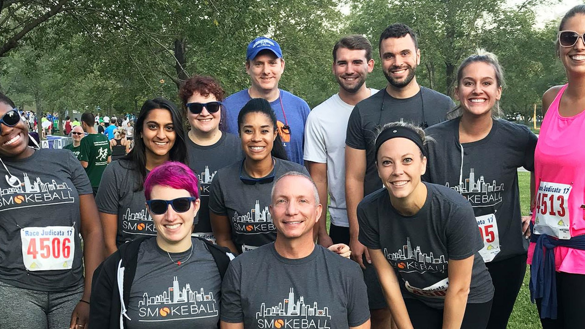 Part of the Smokeball team participates in a race.