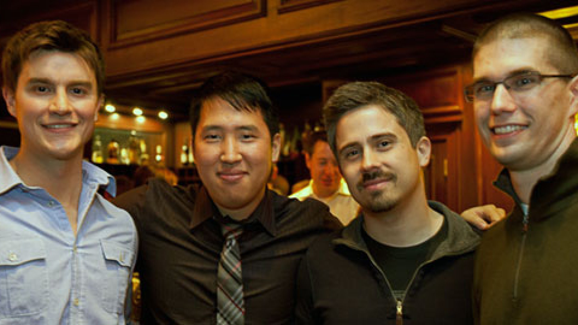 Sonoma Partner's flexible schedule allows employes to find a perfect work-life balance. Here (from left to right) employees Brad Bosak, Augustine Park, Peter Majer, and Neil Erickson kick back and enjoy the company's 2010 holiday party.