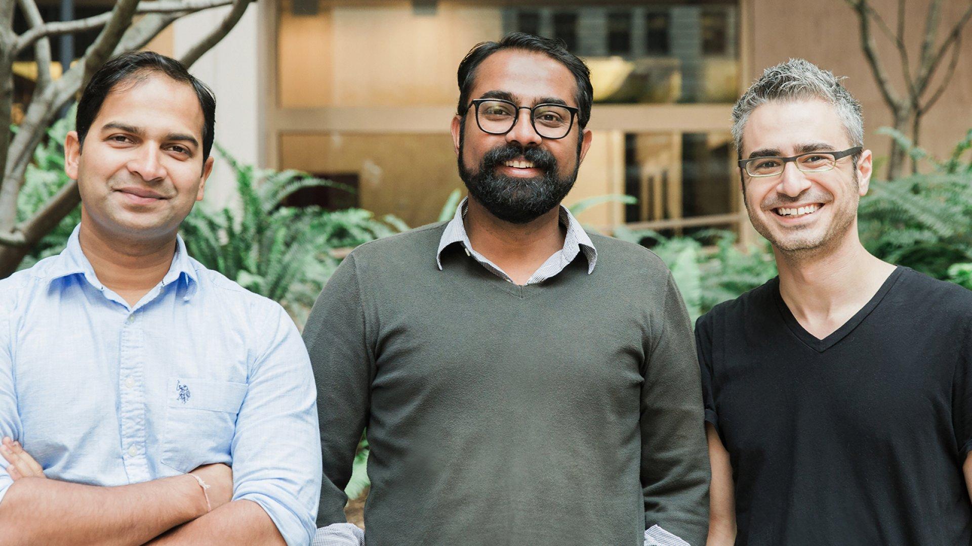 Spoke co-founders Pratyus Patnaik (left), Jay Srinivasan, and David Kaneda.
