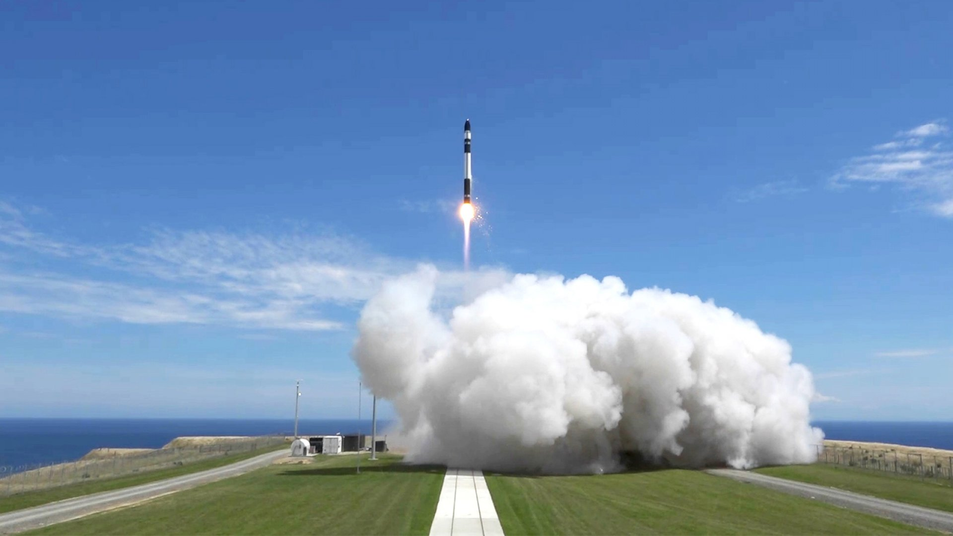 Rocket Lab's 'Still Testing' blasts off from the company's New Zealand launch pad.