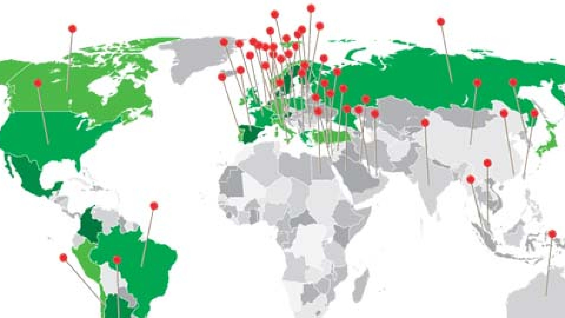<strong>All Over the Map</strong> In the two years since its founding, Groupon has seen its business model copied by companies in about 50 countries (we marked them with red pins). But Groupon has a new strategy to broaden its global dominion (shown on the green areas of the map).