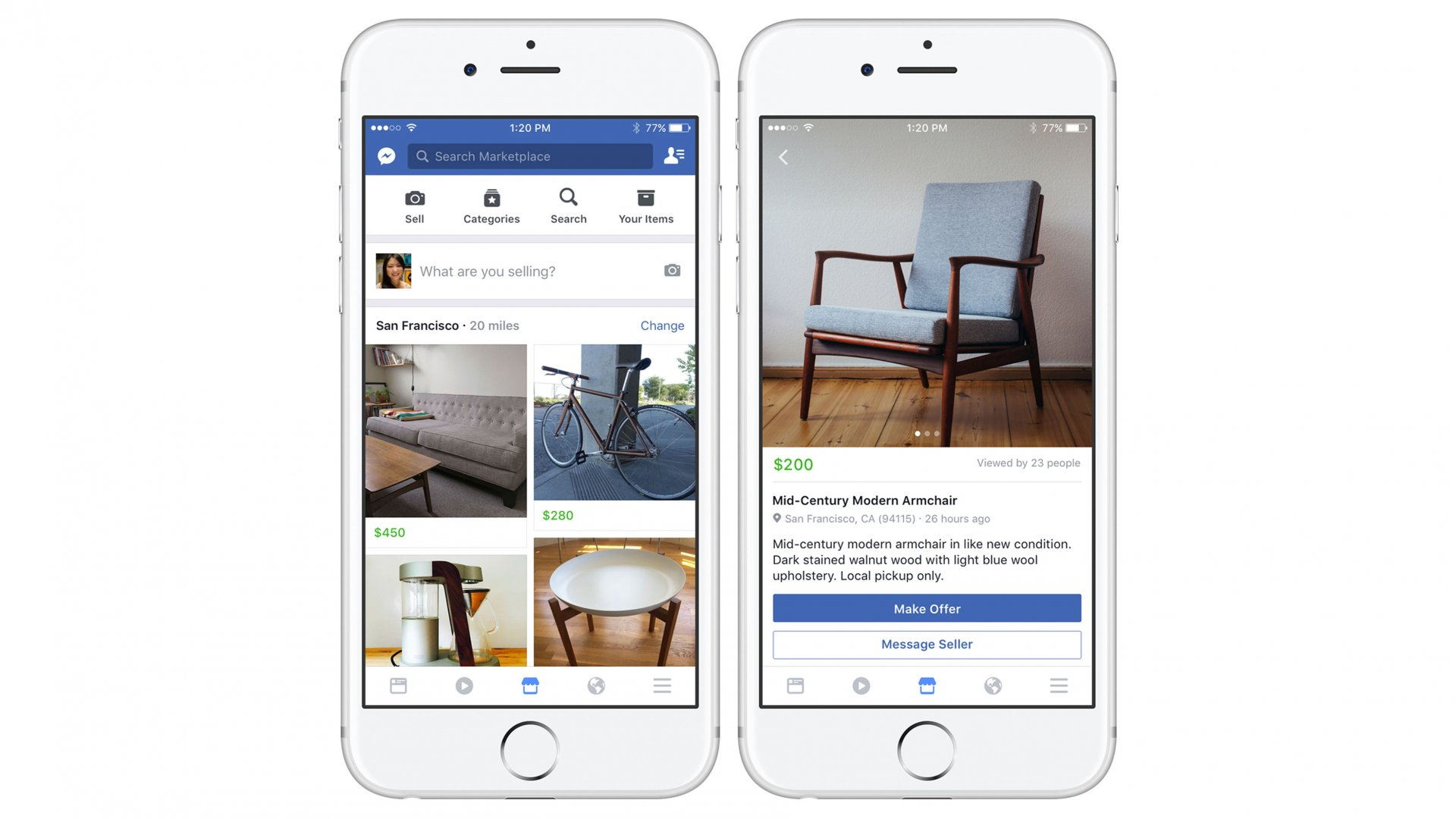 """These images provided by Facebook show smartphone screen grabs demonstrating Facebook's new """"Marketplace"""" section. Facebook Inc. said Monday, Oct. 3, 2016, the most popular items people currently buy and sell on the service include furniture, cars and clothes"""