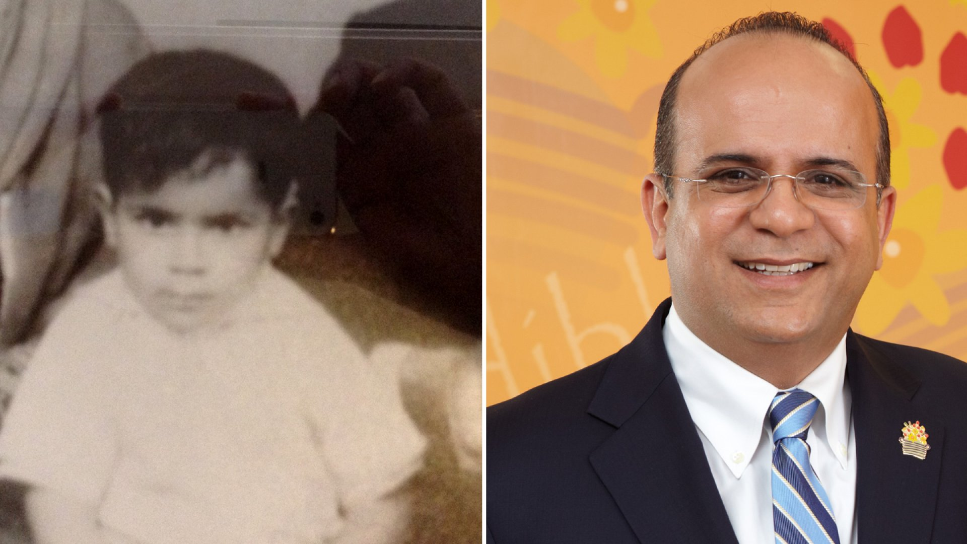 Tariq Farid pictured as a child on the left and now on the right.