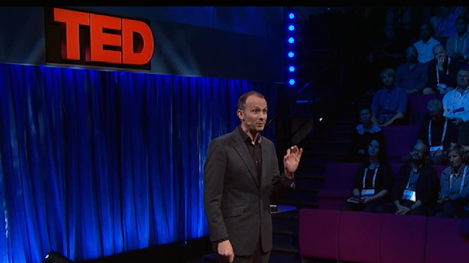 Economist Tim Harford delivering a TED Talk in London.