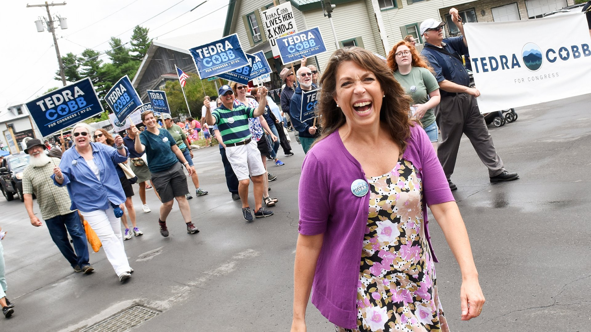 Tedra Cobb, founder and congressional candidate, rallying the crowd at the Ogdensburg, New York, International Seaway Festival parade.