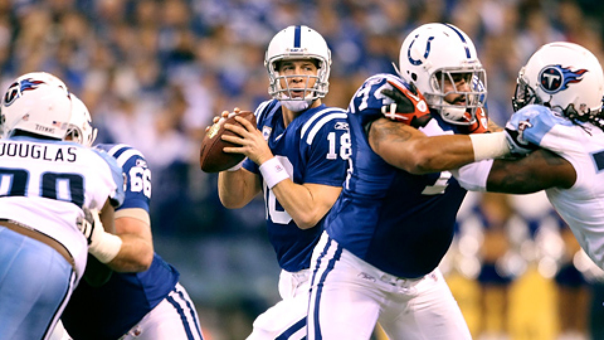 Peyton Manning during a game against the Tennessee Titans at Lucas Oil Stadium