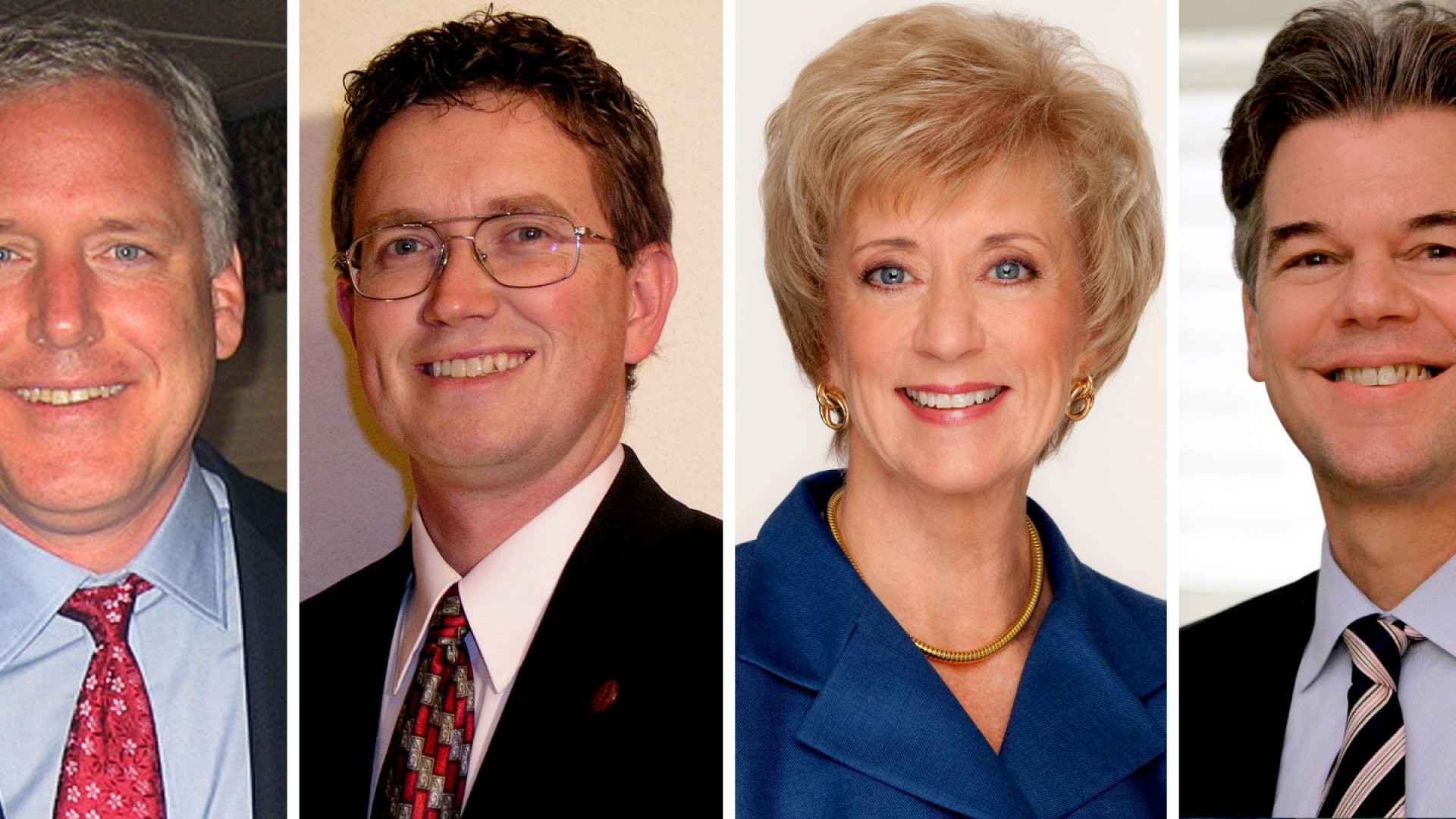 These candidates mean business: John Dennis, Thomas Massie, Linda McMahon, and Jim Graves, left to right.