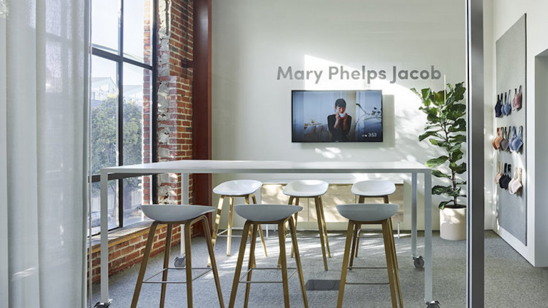 A light-filled conference room at ThirdLove's San Francisco office, named in honor of Mary Phelps Jacob--the first person to receive a patent for the modern bra.