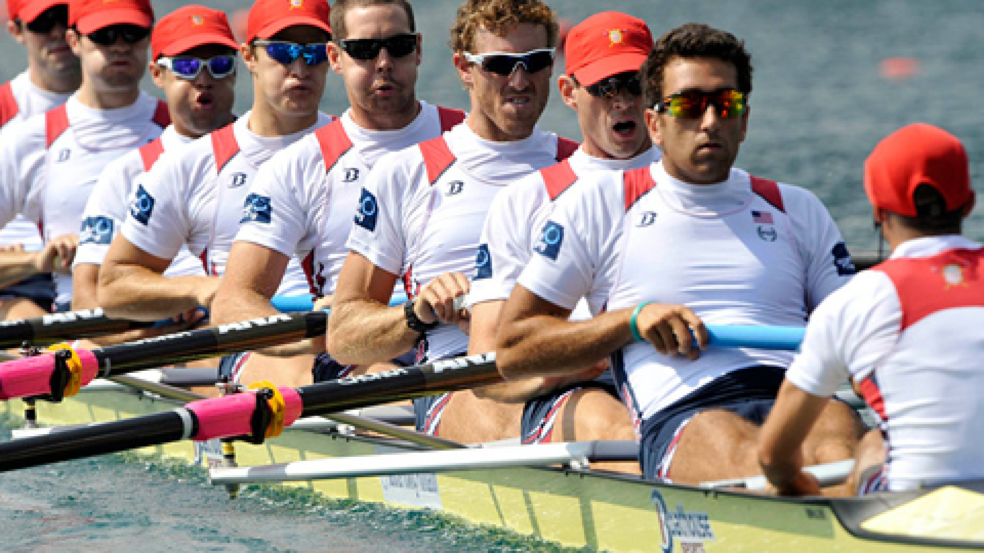 U.S. rowing team compete during the men's eight semi-final at the World Rowing Championships in Bled August 31, 2011.