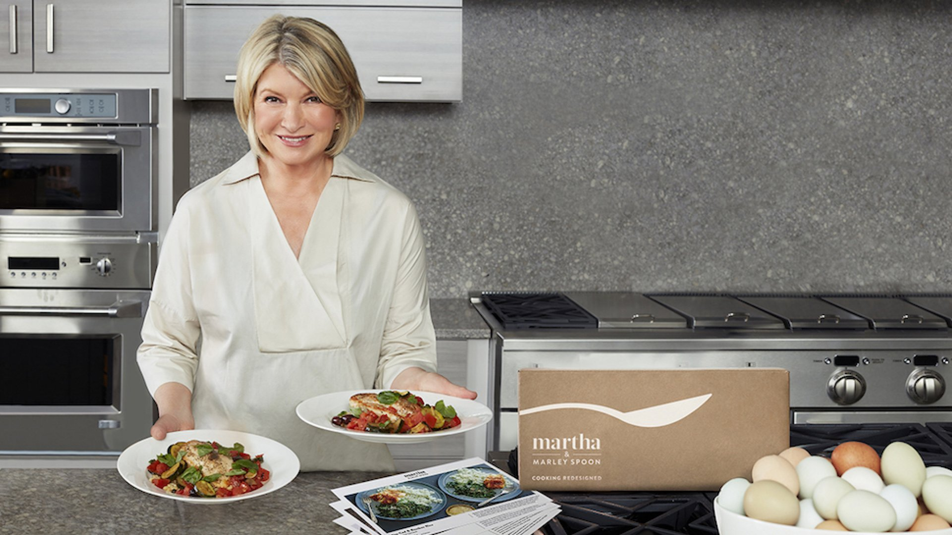 Martha Stewart with her meal kit subscription box Martha & Marley Spoon.