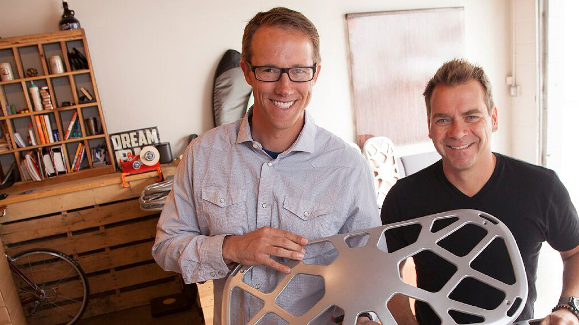 FluidStance founder Joel Heath pictured with David Malina of Happy Royale, who helped design the company's award-winning Level.