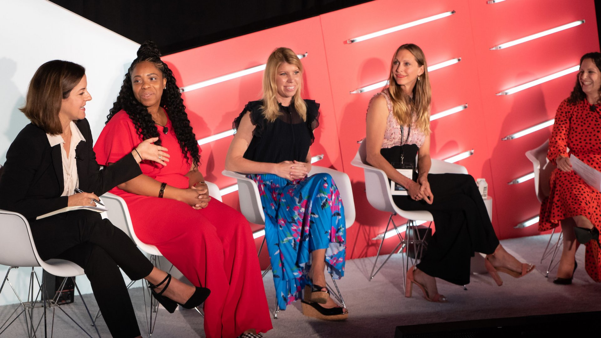 """Future of Content"" panel at Advertising Week New York 2019. From left to right: Stephanie Stahl, Candice Jones, Stacy Minero, Jamie Luke, Julie Hochheiser Ilkovich."