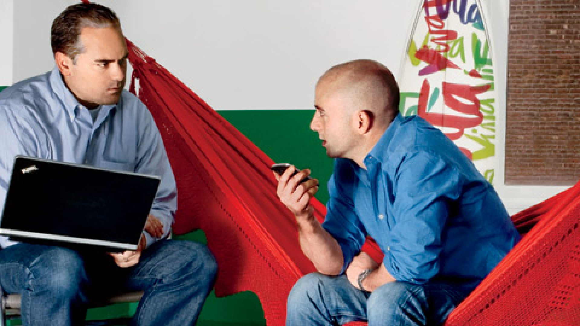 <b>Hanging Tough</b> Michael Kirban (he's the one in the hammock) and Vita Coco's sales director, Tim Dwyer, place a sales call to online grocer FreshDirect.