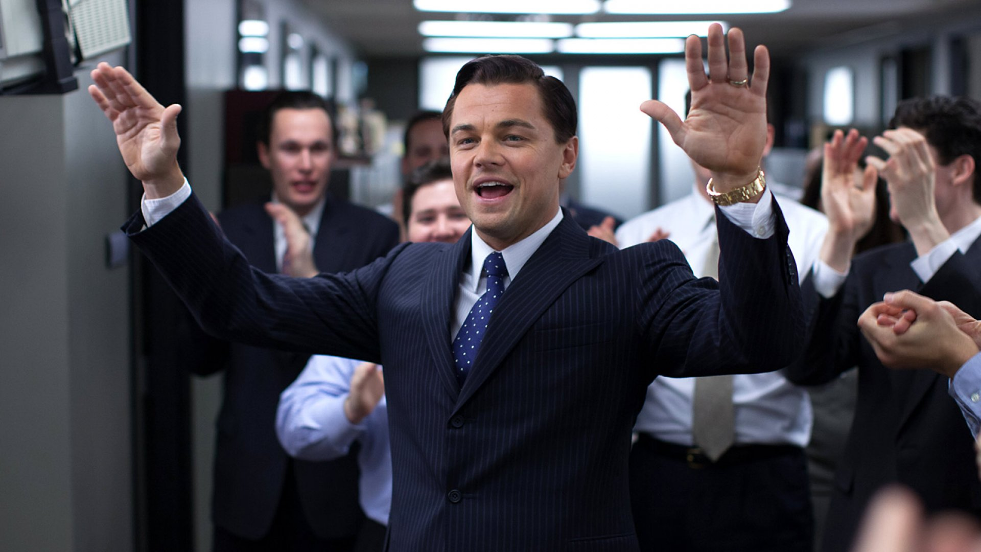 Leonardo DiCaprio as Jordan Belfort in 'The Wolf of Wall Street' (2013).