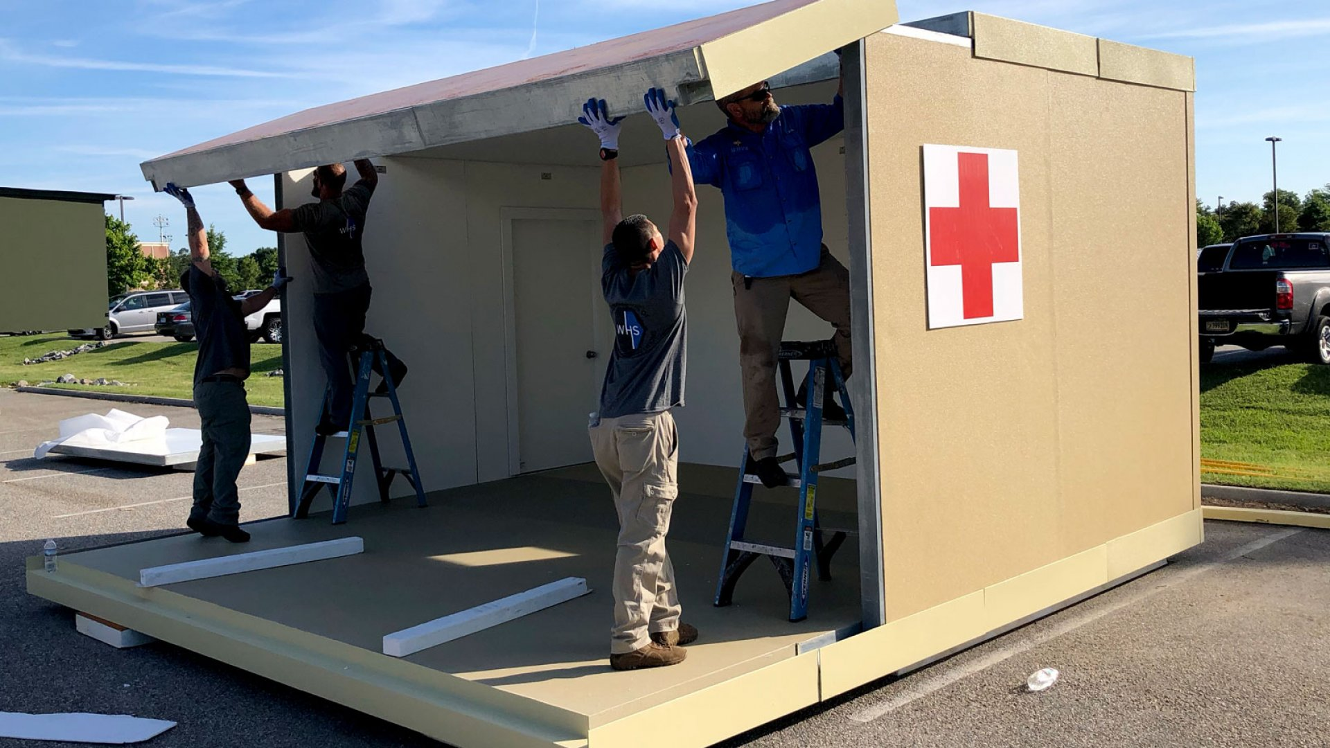 A temporary shelter built by World Housing Solution.