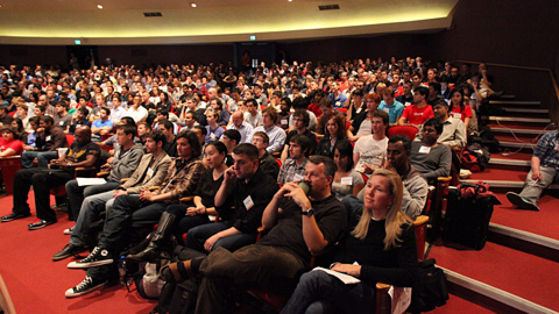 Paul Graham, Jessica Livingston, and crowd from YCombinator's Startup School, held at Stanford University.