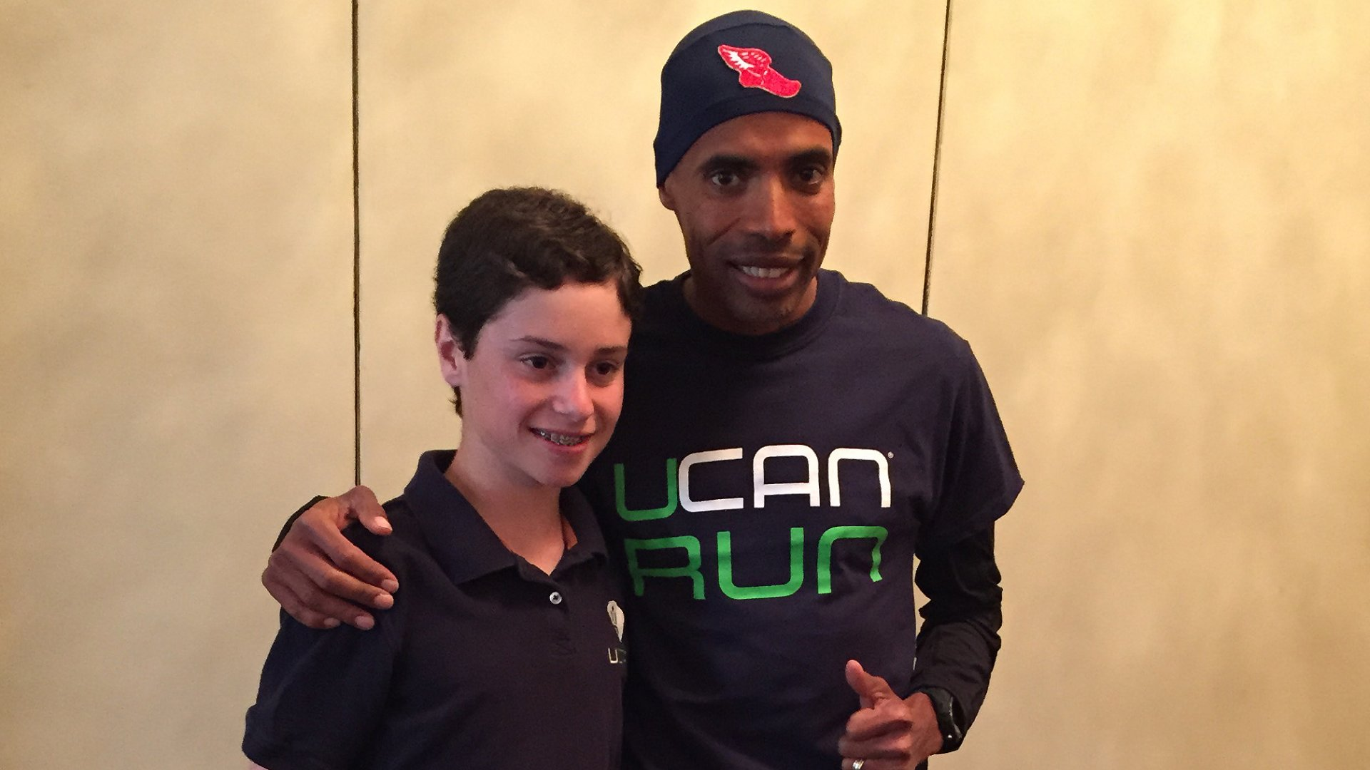 One of Generation's UCAN's biggest influencers is Meb Keflezighi, right, winner of the 2014 Boston Marathon. Here he's pictured with Jonah Feldman, 13. When Jonah was a boy, he was diagnosed with a rare metabolic disorder. Nutritional research on how to treat that disorder led to UCAN's flagship SuperStarch product--which Keflezighi now uses to train for marathons.