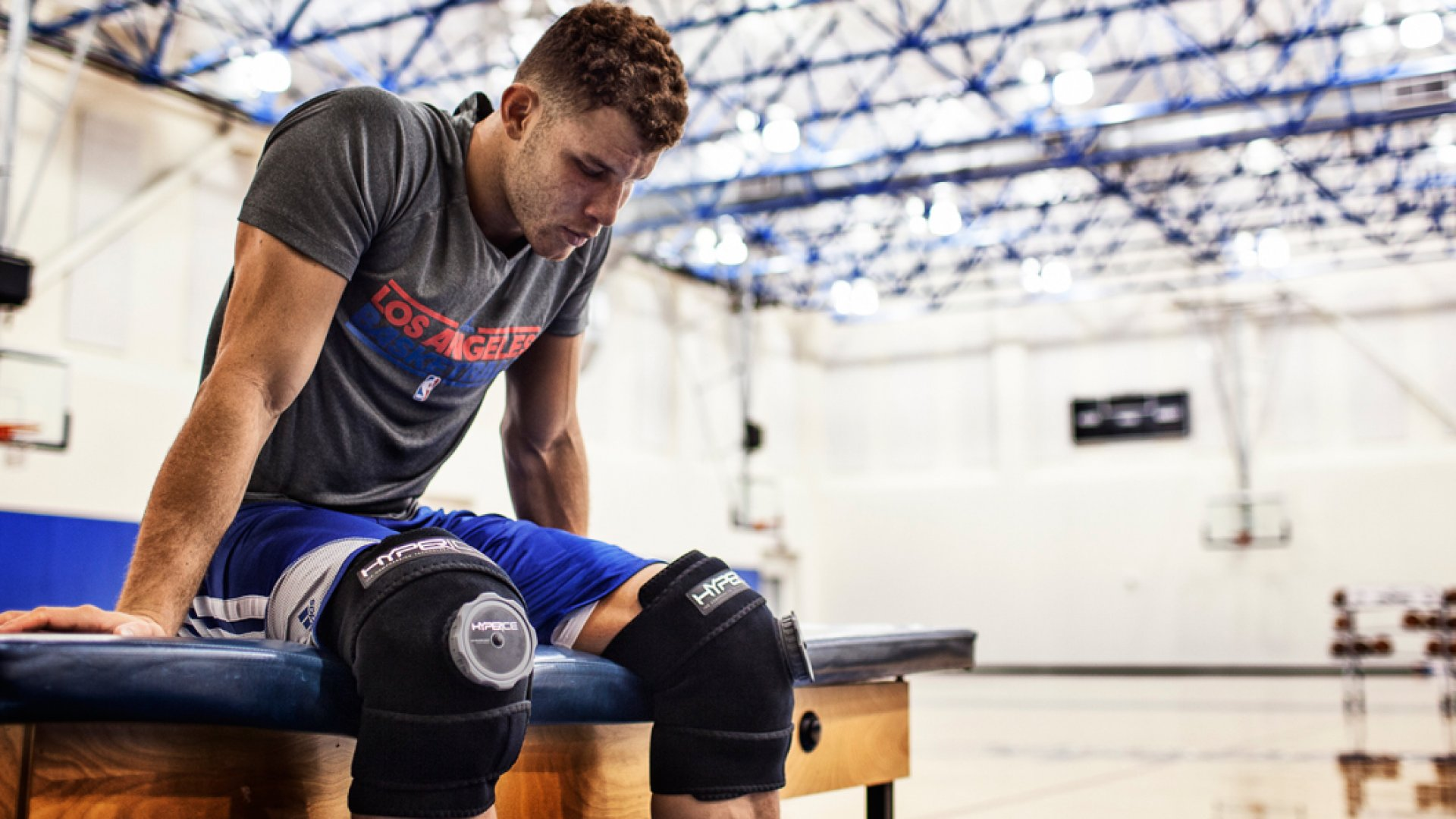 Blake Griffin of the Los Angeles Clippers using HyperIce to help his knees recover.