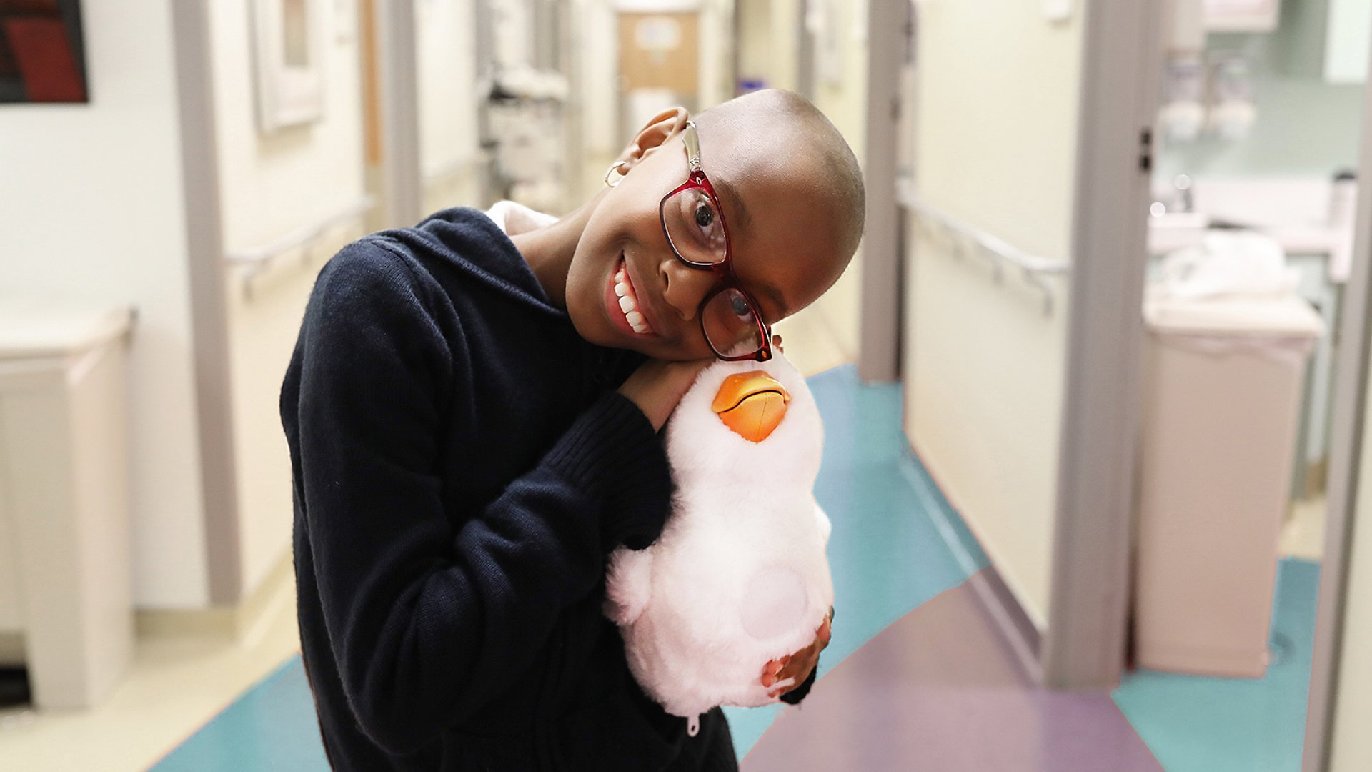 My Special Aflac DuckTM emulates young patients' moods, responds to the same often-painful therapies, and dances, quacks and nuzzles to help comfort children, like Teryn, when they need it the most.
