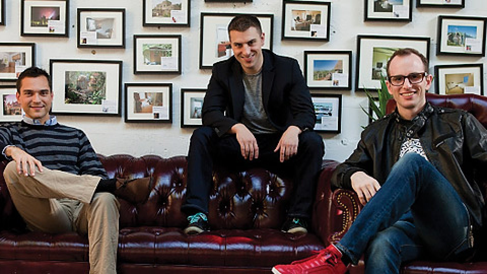 <strong>Attention Travel Junkies:</strong> Nathan Blecharczyk (far left), Brian Chesky (middle), and Joe Gebbia's start-up Airbnb is hosting travelers in 30,000 cities in 192 countries around the world.