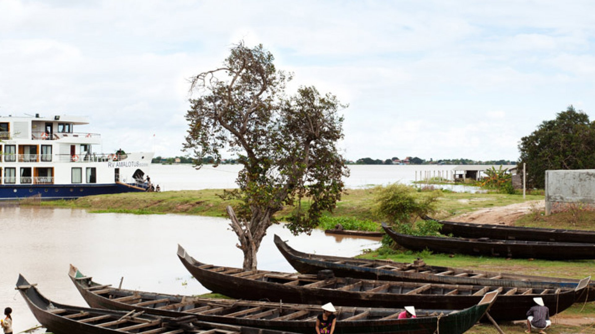 The Amalotus ship which travels on the Mekong River through Cambodia and Vietnam.