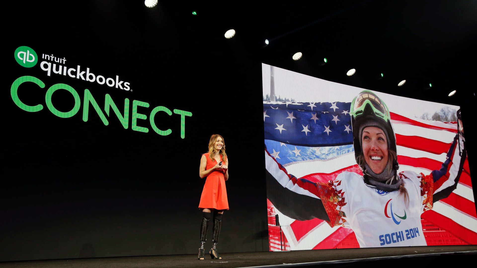 Amy Purdy inspires attendees to turn hardships into championships during QuickBooks Connect 2018.