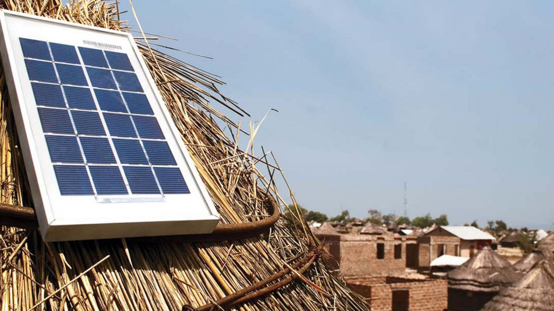 <b>LET THERE BE LIGHT</b> Azuri Technologies's solar energy system, shown here in a village in South Sudan, is a safe and affordable alternative to kerosene.