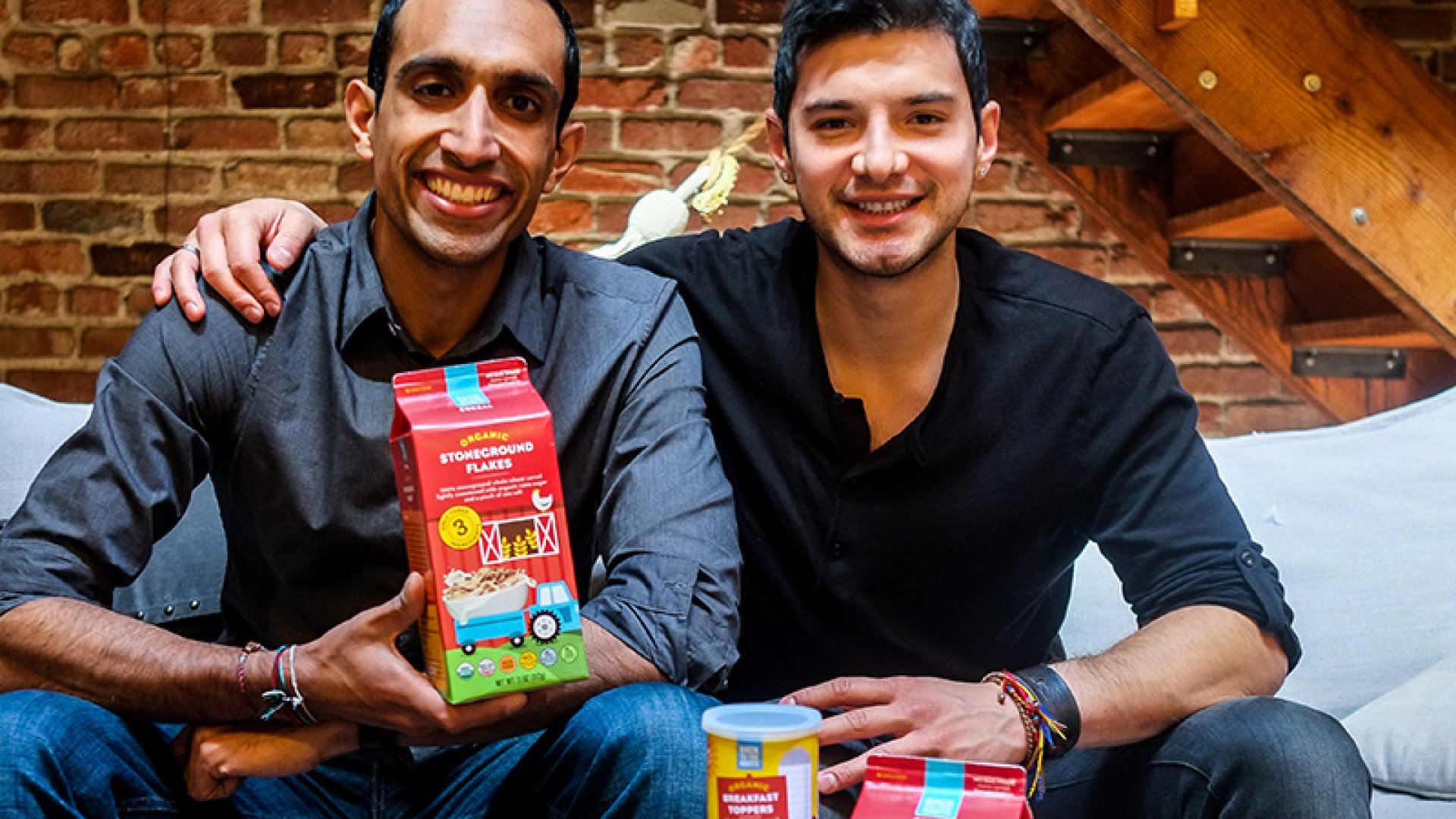 Back to the Roots co-founders Nikhil Arora and Alejandro Velez with their newest product, a breakfast cereal called Stoneground Flakes.
