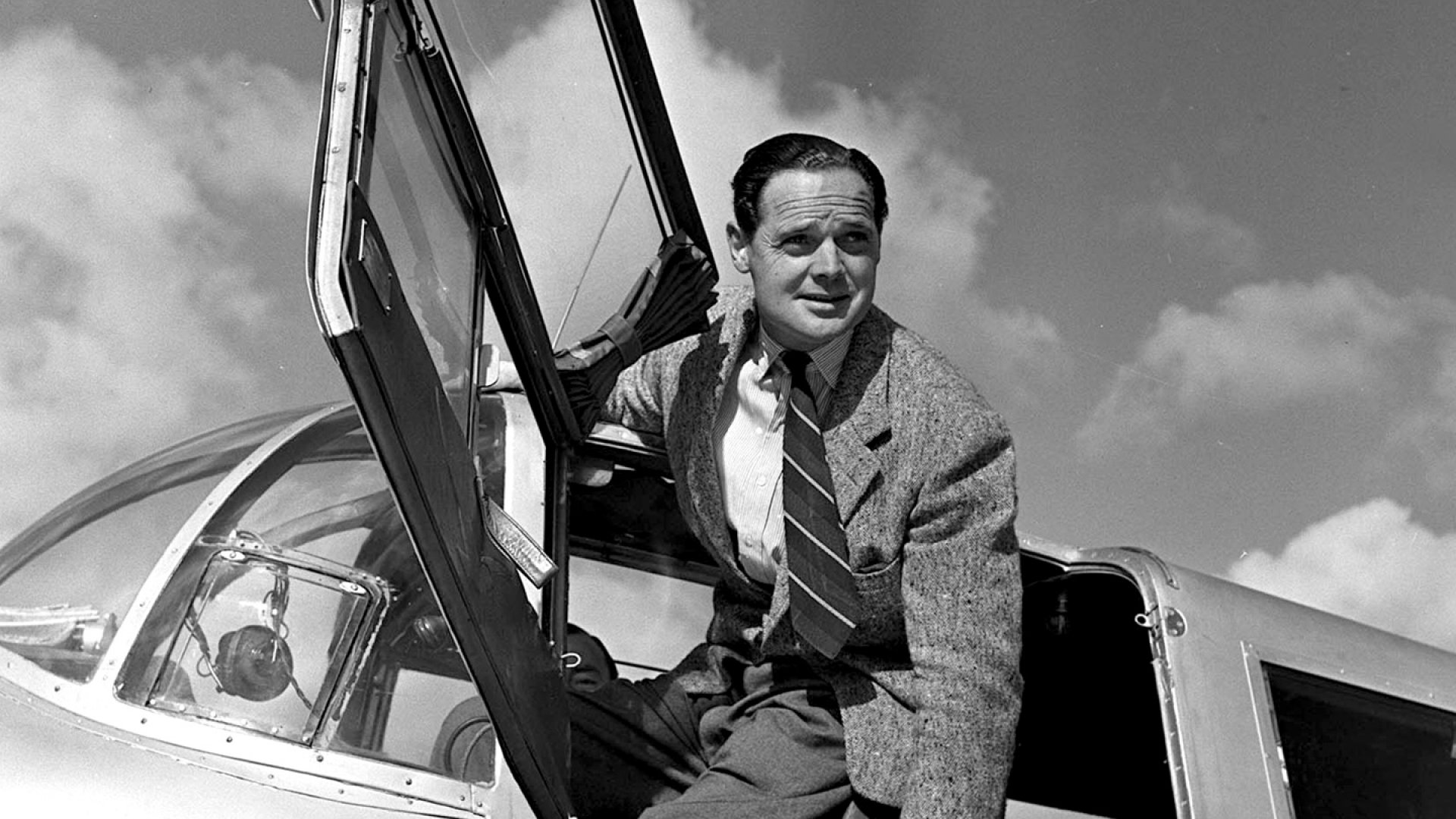 Group captain Douglas Bader, pilot in the RAF during the Battle of Britain in World War Two, 1950.