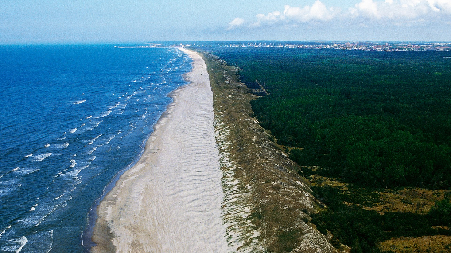 Aerial view of the Curonian Spit, Lithuania.